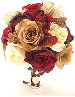 Amazoncom Wedding Bouquets Bridal Silk Flowers Red Black White