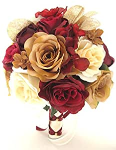 Amazon.com: Wedding bouquets Bridal Silk Flowers BURGUNDY ...