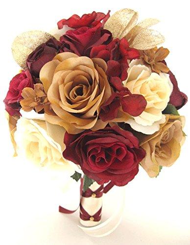 Amazon.com: Wedding bouquets Bridal Silk Flowers BURGUNDY WINE GOLD ...
