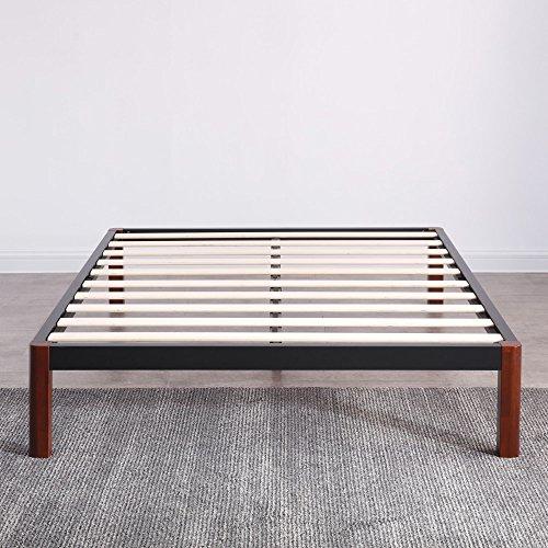 - Classic Brands DeCoro Devon Wood Slat and Metal Platform Bed Frame   Mattress Foundation, Queen