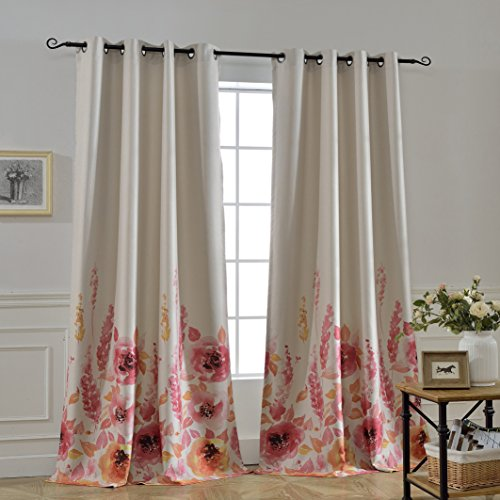 Red Floral Curtains - MYSKY HOME Floral Design Print Grommet top Thermal Insulated Faux Linen Room Darkening Curtains, 52 x 95 Inch, Red, 1 Panel