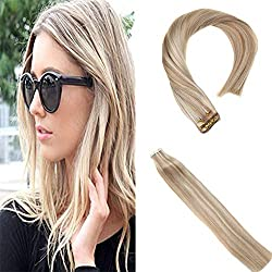 Sunny Blonde Highlights Hair Extensions Tape in Human Hair #18/613 20inch Silky Straight Tape Hair Extensions Blonde Hair 20pcs/50g/set