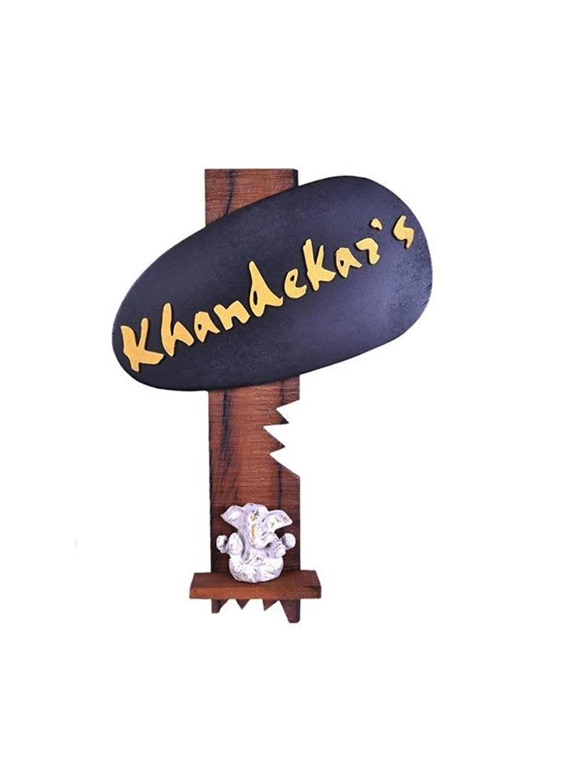 Karigaari India Mdf Wood Khandekar's Name Plate