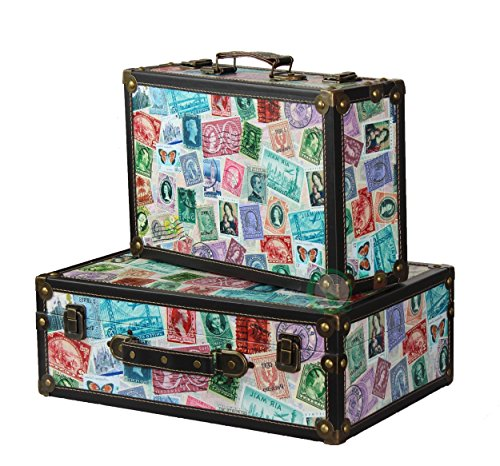 Vintiquewise(TM) World Stamp Travel Suitcase/Chest, Set of 2 ()