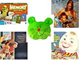 Children's Gift Bundle - Ages 3-5 [5 Piece] - Shrek Forever After Memory Game - Arm Bands for Swimming Pug Design Toy - Plush Appeal Bright Green Kitty Cat Face Plush 5