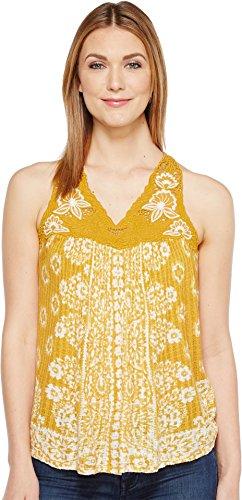 - Lucky Brand Women's Floral Lace Yoke Tank Top Golden Yellow Tank Top