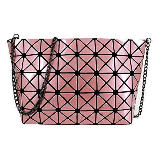 Mily Laser PU Evening Party Clutch Handbag Crossbody Shoulder Bag with Chain Strap Pink ()