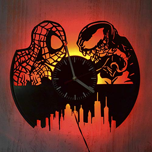 Spider-Man and Venom Art Gift Led Light Vinyl Record Wall Clock - Get Unique Bedroom or livingroom Wall Decor - Gift Ideas for Boys and Girls Perfect Element of The Interior Unique Modern Art