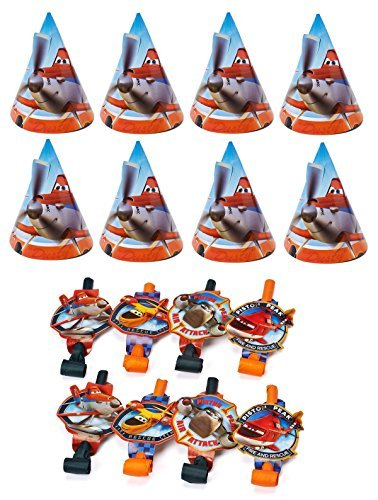 Disney Planes Dusty and friends Birthday Party Favors Pack Including Blowouts, and Party Cone Hats - 8 (Disney Planes Party Favor Value Pack)