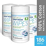 CPAP Wipes | AWOW Professional CPAP Mask Cleaning Wipes, 186 Unscented Cotton CPAP Mask Wipes | Perfect for your CPAP Accessories Kit