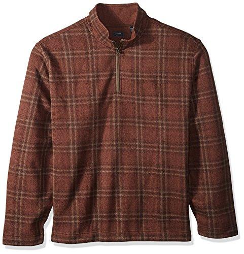 Pique Knit Mock Shirt - Arrow Men's Big and Tall Aberdeen Long Sleeve Sweater Fleece 1/4 Button Mock Pullover, Dark Sienna, 4X-Large
