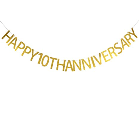 Amazon.com: Happy 10th Anniversary Banner Party Decoración ...