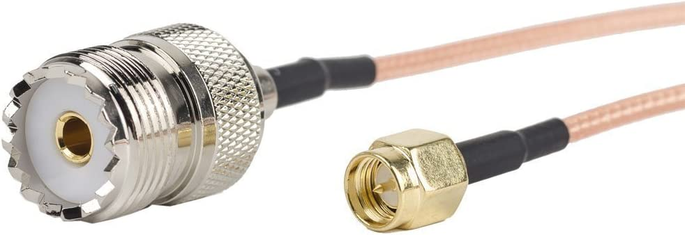 2 adaptadores de cable coaxial RG316 de 91 cm con conector RF - Cable de antena portátil - Conectores de SMA macho a UHF SO-239 hembra