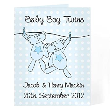 twin boy card personalised personalise this blue twins washing line card with a message of up