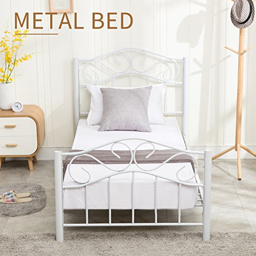 Mecor Twin Size Curved Metal Bed Frame/Mattress Foundation/Platform Bed for Kids with Steel Headboard Footboard,White,Twin from Mecor