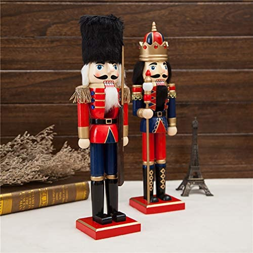 Busy Bee Lot de 2 figurines Casse-Noisette de No/ël Rouge et Blanc Casse-Noisette Figurine Roi et Soldat