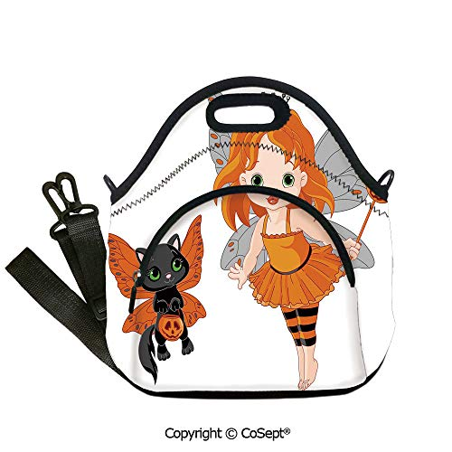 Multipurpose Neoprene Lunch Bag,Halloween Baby Fairy and Her Cat in Costumes Butterflies Girls Kids Room Decor Decorative,Lunch Boxes Container Tote(12.59x6.29x12.59 inch) Multicolor -