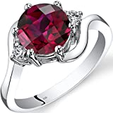 14K White Gold Created Ruby Diamond 3 Stone Ring 2.50 Carat