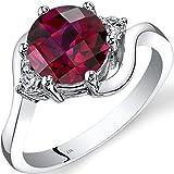 14K White Gold Created Ruby Diamond 3 Stone Ring 2.50 Carat