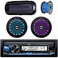JVC In-Dash Marine Boat Bluetooth Radio USB Receiver Bundle Combo with Pair of Enrock 6.5 Black Dual-Cone Stereo Speakers, Stereo Waterproof Cover, 18g 50ft Marine Speaker Wire