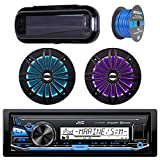 """JVC In-Dash Marine Boat Bluetooth Radio USB Receiver Bundle Combo with Pair of Enrock 6.5"""" Black Dual-Cone Stereo Speakers, Stereo Waterproof Cover, 18g 50ft Marine Speaker Wire"""