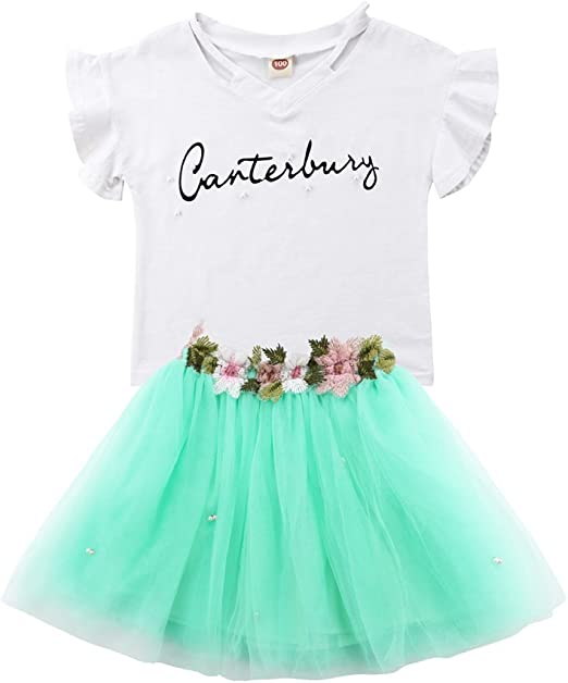 Tulle Skirt Dress Outfit Clothes 2PCS//Set Infant Kids Baby Girls T-shirt Tops