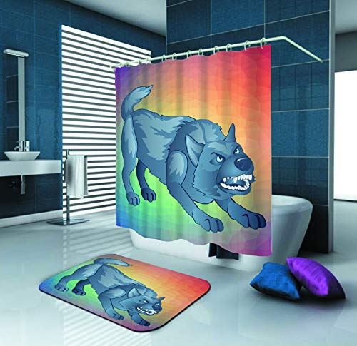 SARA NELL Shower Curtain,Angry Gray Dog Bares His Teeth Animated Werewolf,72X72In Mildew Resistant Polyester Fabric Shower Curtain Set with 15.7X23.6In Flannel Non-Slip Floor Doormat Bath Rugs