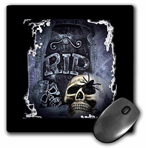 3dRose WhiteOaks Halloween Skulls - Grave Marker and Skull Halloween Skull Design - MousePad (mp_28314_1) ()