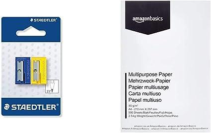 STAEDTLER 510 50 BK2 - Afilalápices de plástico. Pack con 2 sacapuntas de colores. + AmazonBasics Papel multiusos para impresora A4 80gsm, 1 paquete, 500 hojas, blanco: Amazon.es: Oficina y papelería