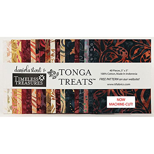 Quilt Fabric Charm Packs - Tonga Treats Batiks Fireside Minis 40 5-inch Squares Charm Pack Timeless Treasures Fabrics