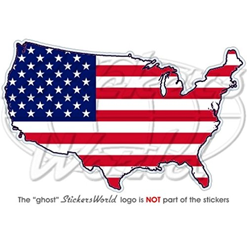 USA United States of America map-flag 11,9  cm amé ricain (120  mm) Bumper Sticker en vinyle, en 9 cm américain (120 mm) Bumper Sticker en vinyle StickersWorld