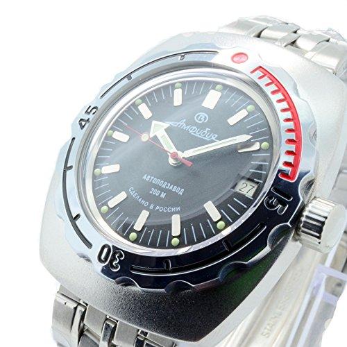 Auto Diver Watch (Vostok Amphibian 090662 / 2415b Russian Military Watch Auto Divers 200m Scuba Black)