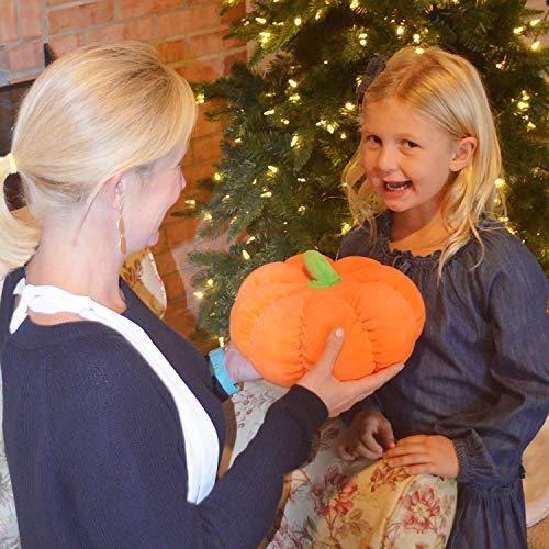 CatchStar Stuffed Pumpkin Fluffy Pumpkin Plush Toy Durable Halloween Pumpkins Decorative Couch Throw Pillow Soft Pumpkin Toys Gift for Kids Toddlers Babies Orange 10