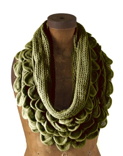 Chic Oversized Ruffle Knitted Infinity Scarf - (Olive Green)
