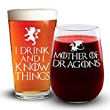 I Drink & I Know Things - Mother of Dragons Combo Pack - Game of Thrones - Engraved Beer & Wine Glass Set by Sandblast Creations