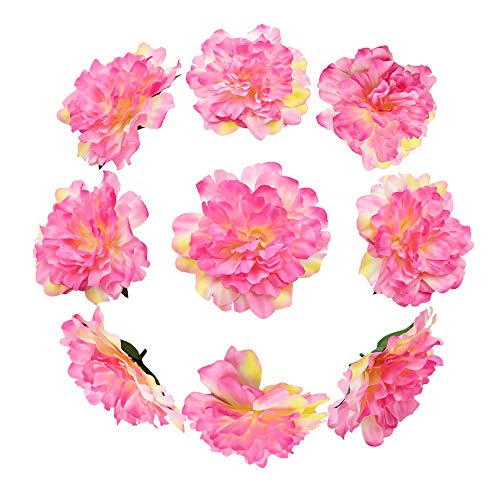 HZOnline Artificial Silk Peony Flower Heads, Fake Stemless Head Floral Bouquet for Crafts Wedding Wrist Flower Decoration DIY Making Beach Shoes Hair Clips Headbands Photography Props (10pcs ()