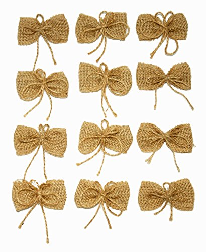 Anera Burlap Wedding Flowers Bows - Handmade Jute Burlap Flower Bows for All Occasions, Bows for Wedding Attire, Wedding and Party Decoration, Hat, Tie, Clothing and Crafts 12 ()
