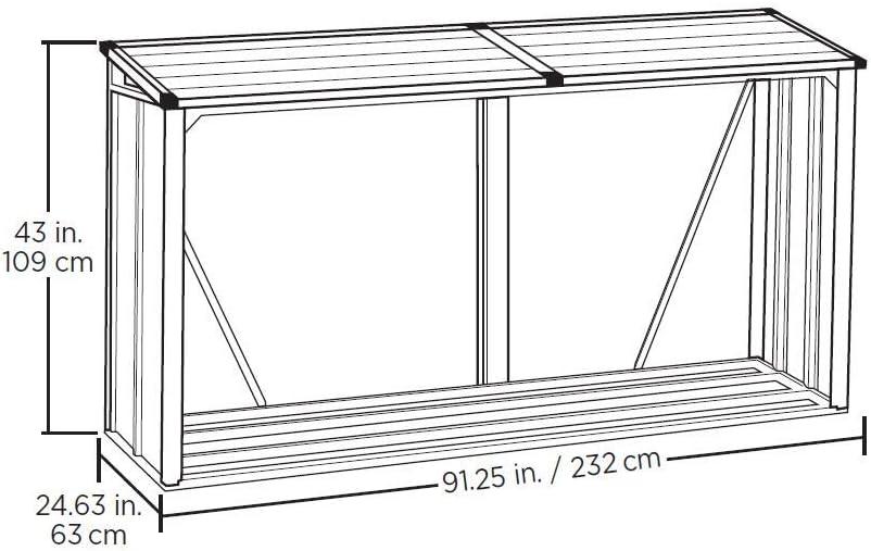 Anthracite Arrow Compact Galvanized Steel Metal Firewood Rack