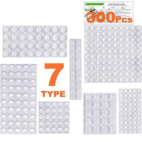 Clear Rubber Feet Bumpers Pads 300 Pieces Self Adhesive Transparent Stick Bumper Noise Dampening Buffer Bumpers for Door Drawer Self Stick Cabinet-MOZOLAND (Purpose All Rubber Silicone)