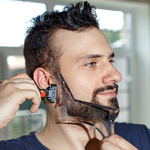 - Manecode Beard Guide Shaper Tool - Clear Trimming Template - Shaping Stencil With Comb and Precise Lines Control