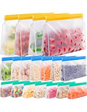Reusable Storage Bags Stand Up, 18 Pack Reusable Sandwich Bags, Reusable Freezer Lunch Bags, Leakproof Reusable Bags Silicone, Reusable Gallon Bags, Reusable Food Storage Bags