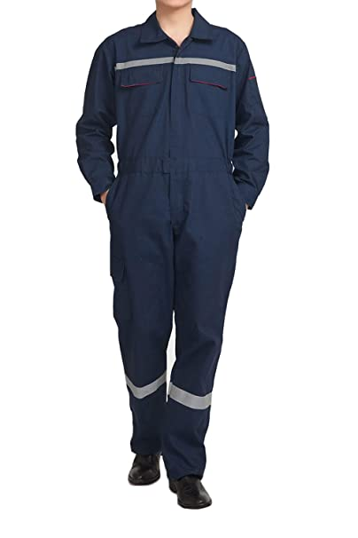 39e311be243f Hakjay Mens Mechanic Coverall Enhanced Visibility Overall Welding Flame  Resistant Work Wear Grey