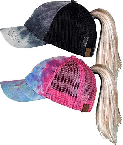 H-216-2-TD0624 TIE-DYE Ponycap Bundle: Black & Hot Pink