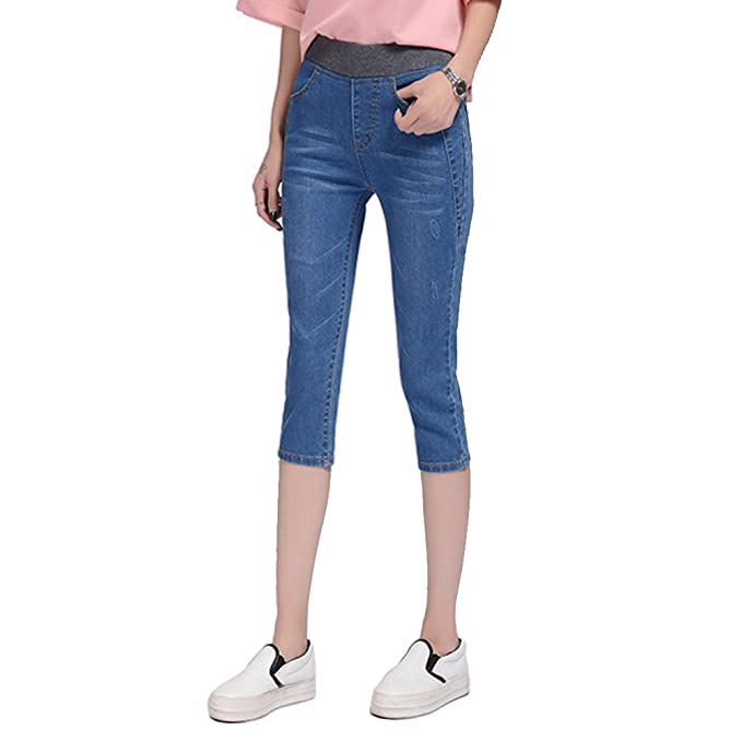 fd40931a664 HIENAJ Women s Elastic Waist Slim Fit Capri Jeans Stretch Plus Size Denim Pants  Jegging at Amazon Women s Jeans store