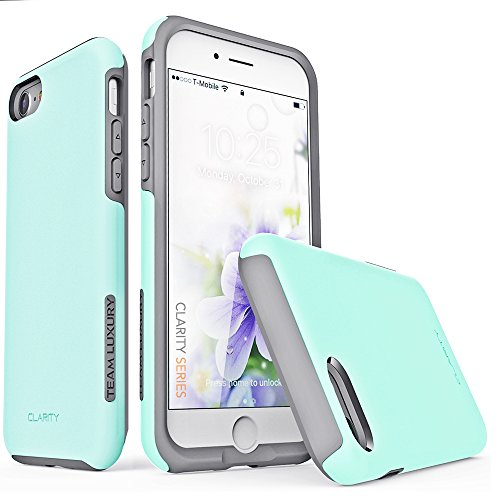iPhone 7 Case, iPhone 8 Case, TEAM LUXURY [Clarity Series] UPDATED G-II Turquoise Ultra Defender TPU + PC [Shock Absorbent] Premium Protective Case -for Apple iPhone 7 & 8 (Soft Mint/Gray)