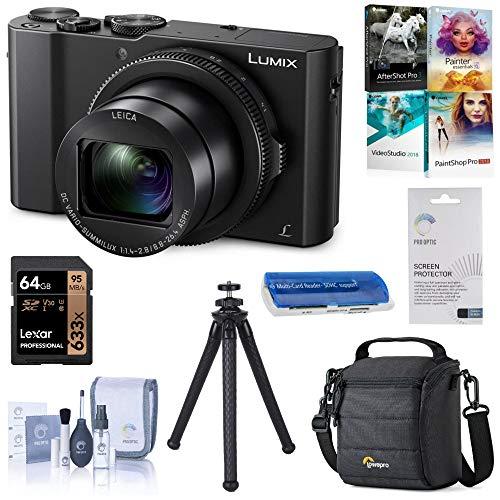 Panasonic Lumix DMC-LX10 4K Digital Point and Shoot Camera, 20.1 Megapixel 1-inch Sensor Bundle with Case, 64GB SD Card, Fotopro UFO 2 Tripod, Corel PC Software Kit, Essential Accessories
