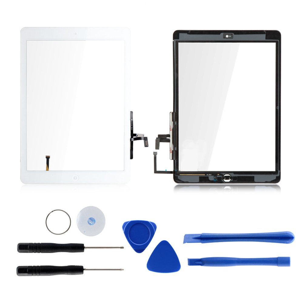 Touch Screen Digitizer Replacement for iPad air 1st Generation A1474 A1475 A1476 GSM CDMA, 9.7'' Front Glass Repair Kit Include Home Button and pre-install Adhesives (White)