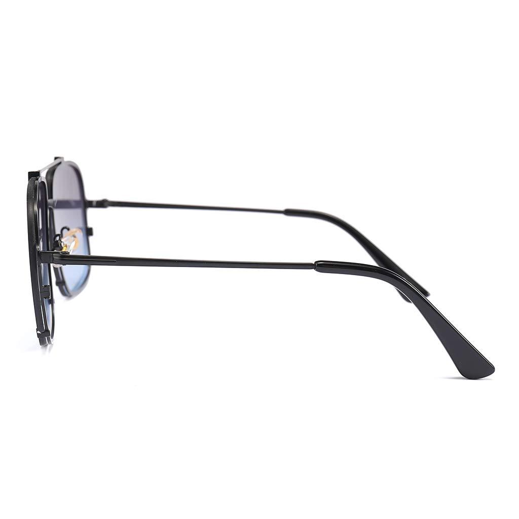 RGBIWCO Fashion Sunglasses Double Bridge Flat Top Luxury Women Men Charms Metal Large Frame UV400