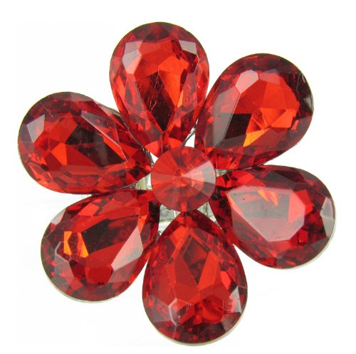 Ruby Red Crystal Stretch Cocktail Ring - Jewel Flower Red Rhinestone Crystal ()
