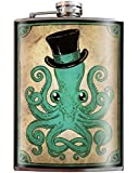 Gentleman Octopus Hipster Steampunk with Top Hat Flask - 8oz Stainless Steel Flask - come in a GIFT BOX - by Trixie & Milo